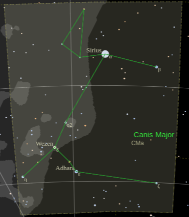 Constellation Canis Major with the bright Star Sirius