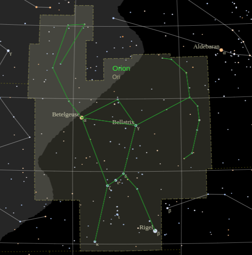 Constallation Orion with labels for Betelgeuse, Rigel and Bellatrix